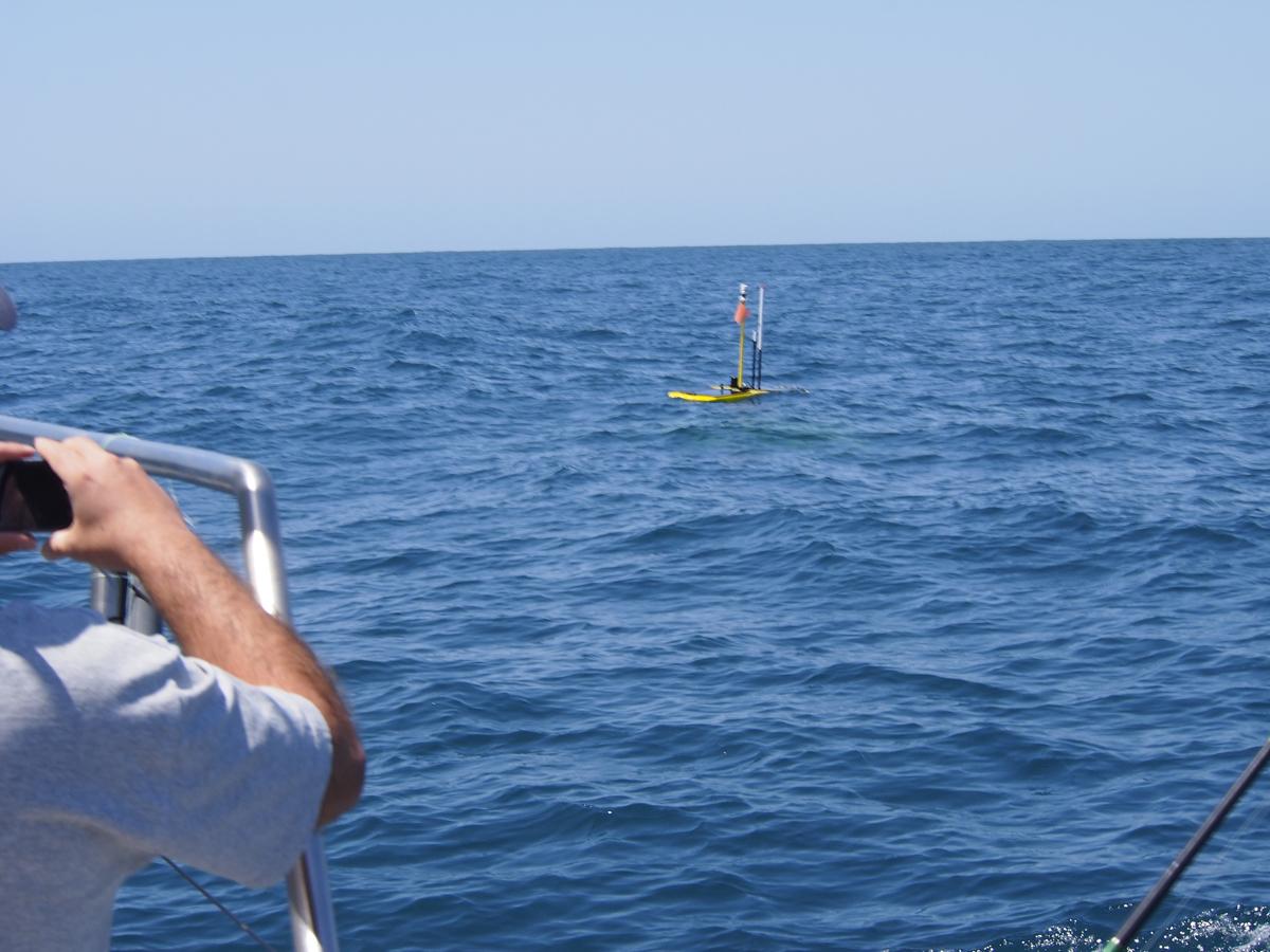 Sem nenhum Mola à superfície, a equipa AUV aproxima-se do Wave Glider para fazer um mapeamento com o AUV à sua volta.